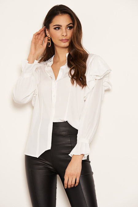 Black Floral Frill Sheer Shirt