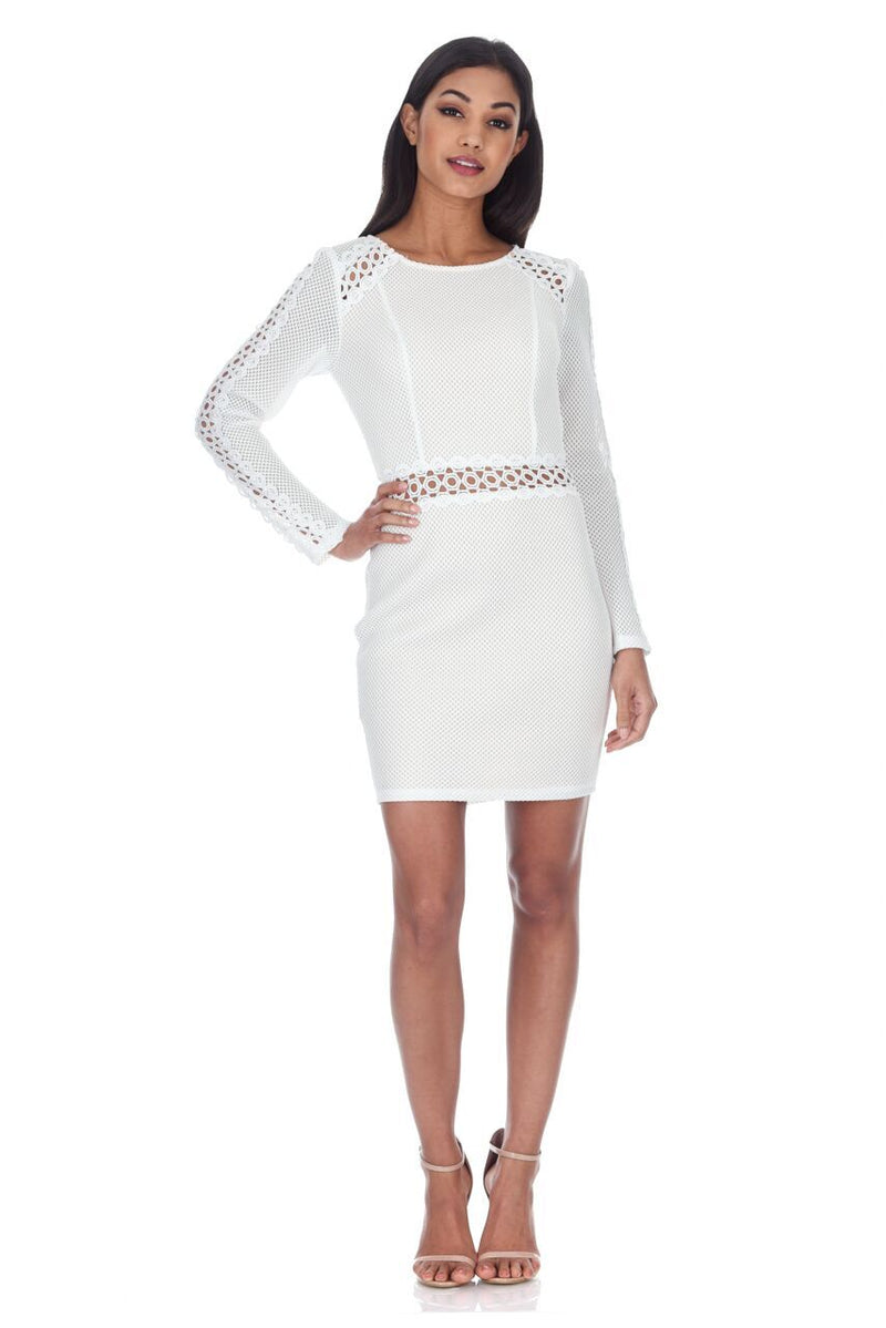 Cream Mesh Sleeves With Crochet Detailing Mini Dress