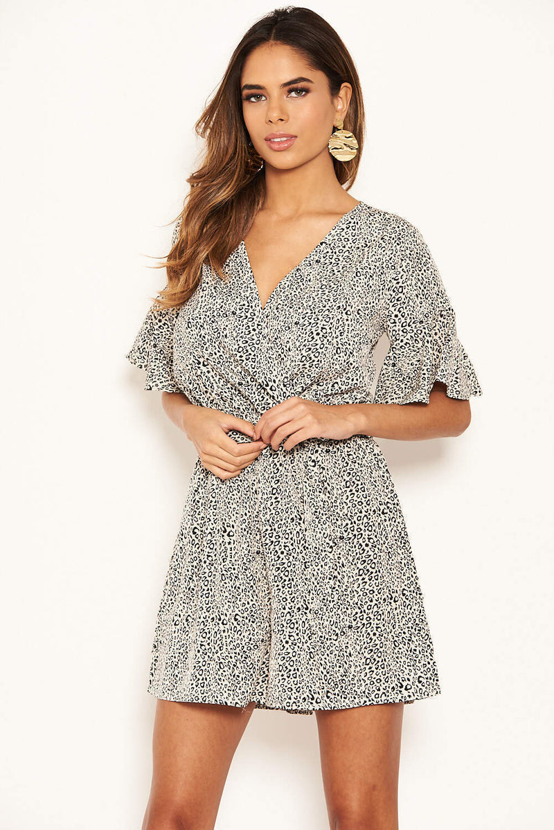Cream Printed Wrap Frill Playsuit With Tie Belt