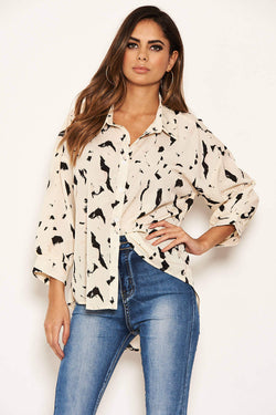 Cream Abstract Print Shirt
