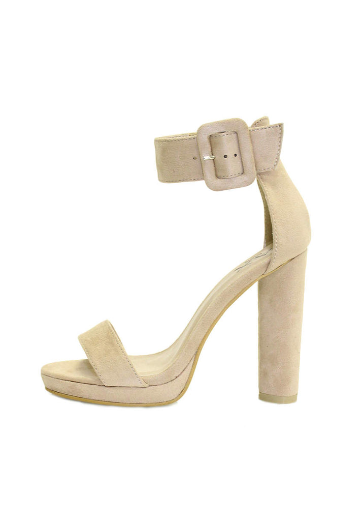 Cream Suede Heels With Chunky Heel