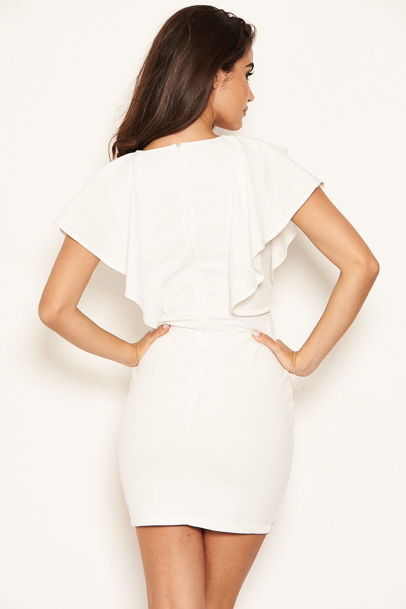 Cream Plunge Ruffle Neckline Dress
