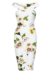 Printed Off Shoulder Cross Midi Dress