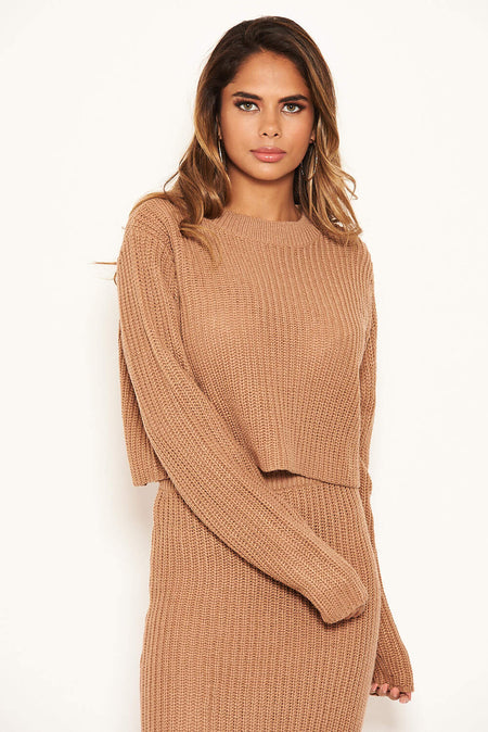 Forest Green Wide Sleeve Cropped Knit Jumper