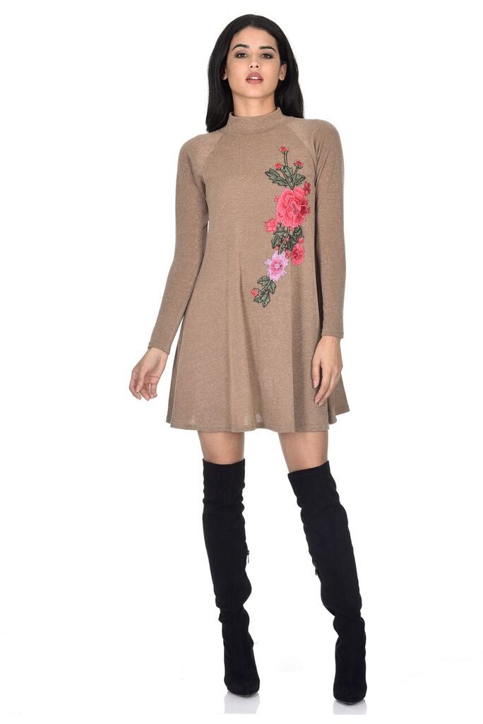 Camel Embroidered Knitted Dress