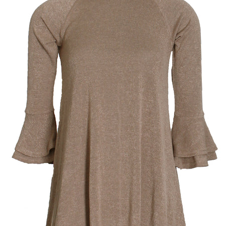 Camel High Neck Bell Sleeves A-line Dress