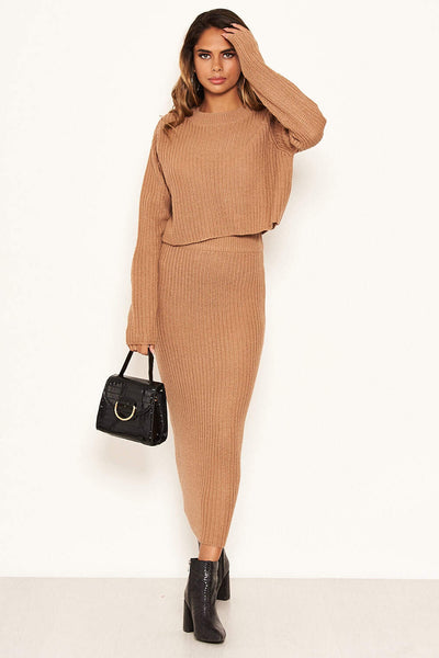 Camel Knit Skirt
