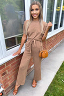Camel Knitted Jumpsuit
