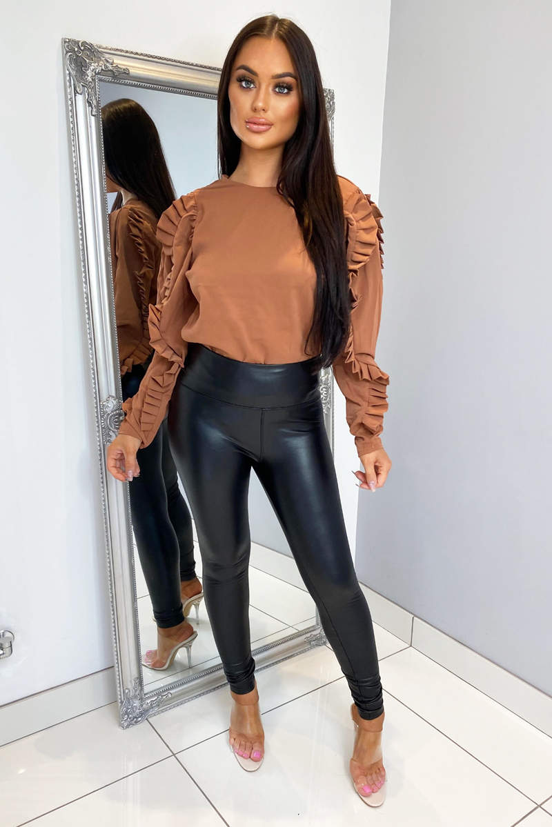 Camel Pleated Long Sleeve Top