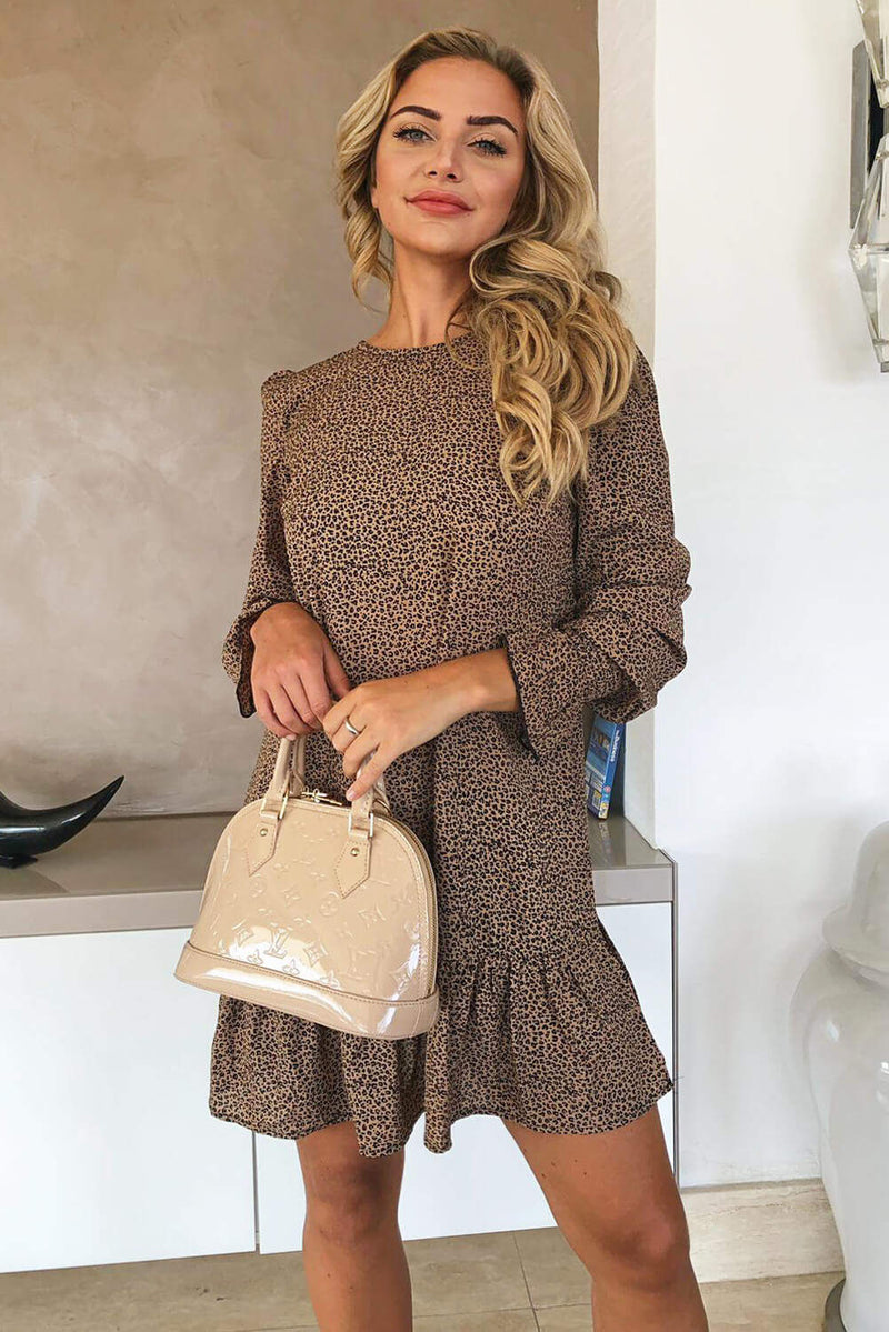 Camel Printed Frill Hem Shift Dress