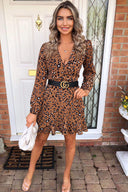 Camel Printed Wrap Frill Dress
