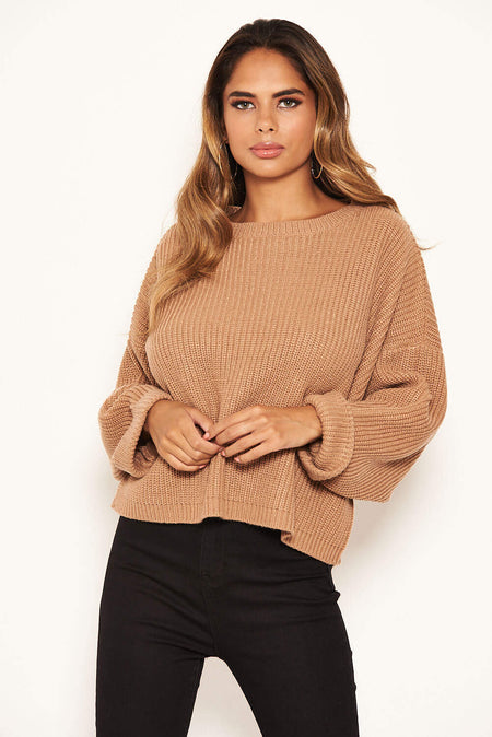 Mustard and Black Off Shoulder Knit Jumper