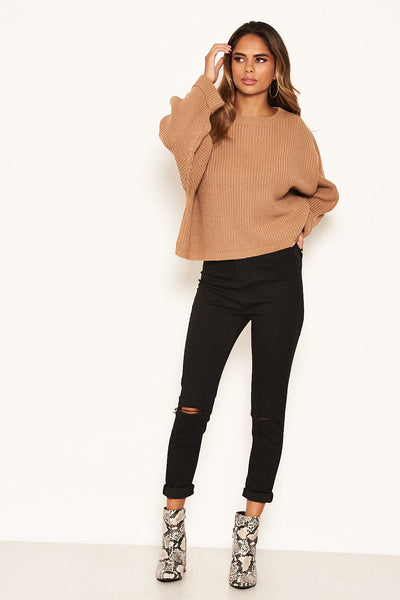 Camel Wide Sleeve Cropped Knit Jumper