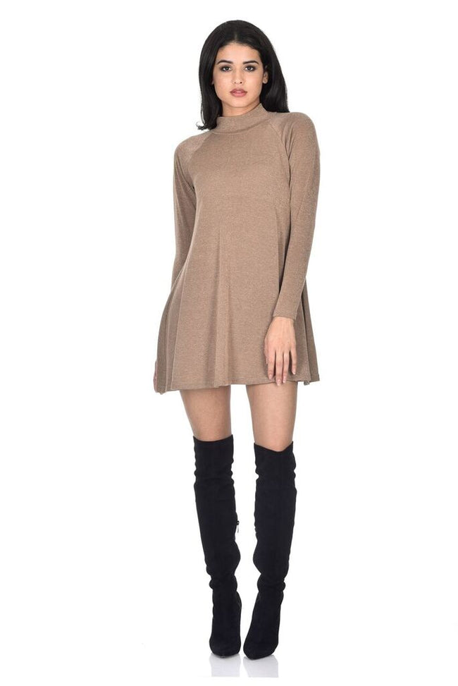 Camel Knitted Mini Swing Dress