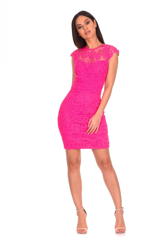 Cerise Crochet Detail Mini Dress