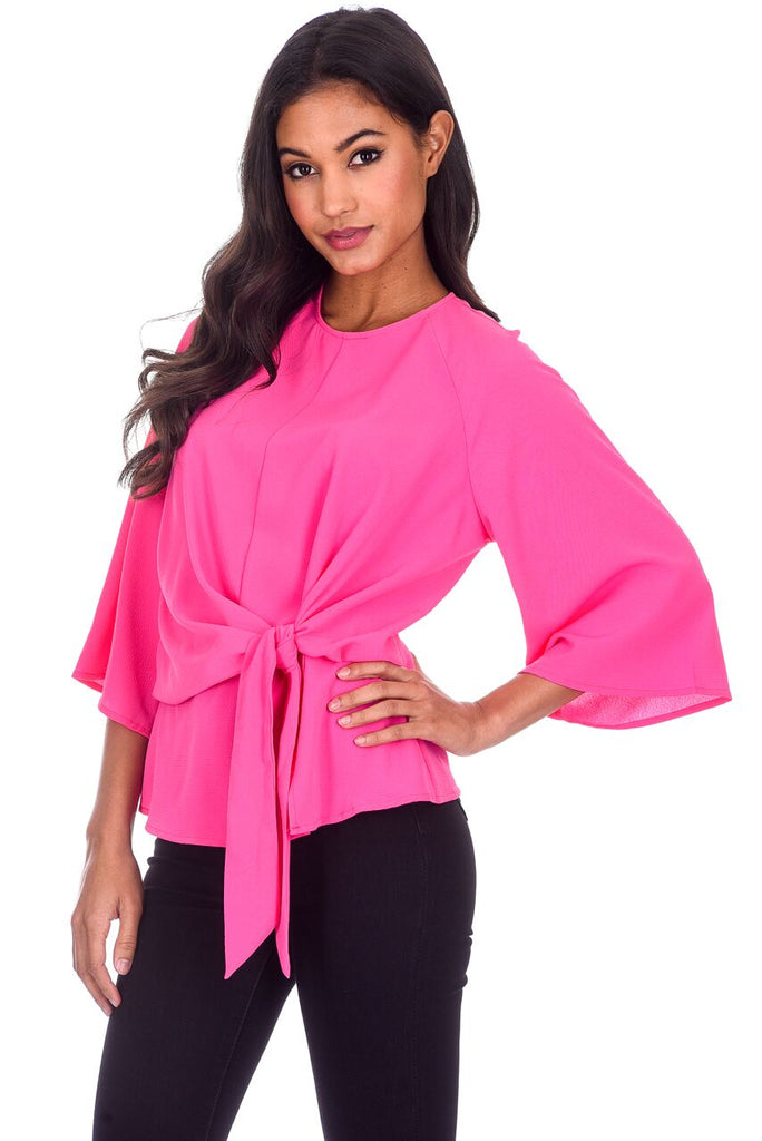 Cerise Flared Sleeve Tie Waist Detail Top