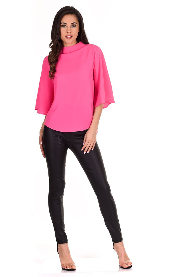 Cerise Flared Sleeve Top