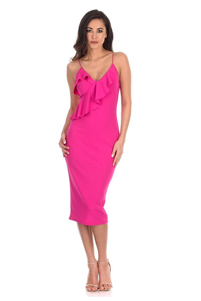 Cerise Frill Front Bodycon Dress