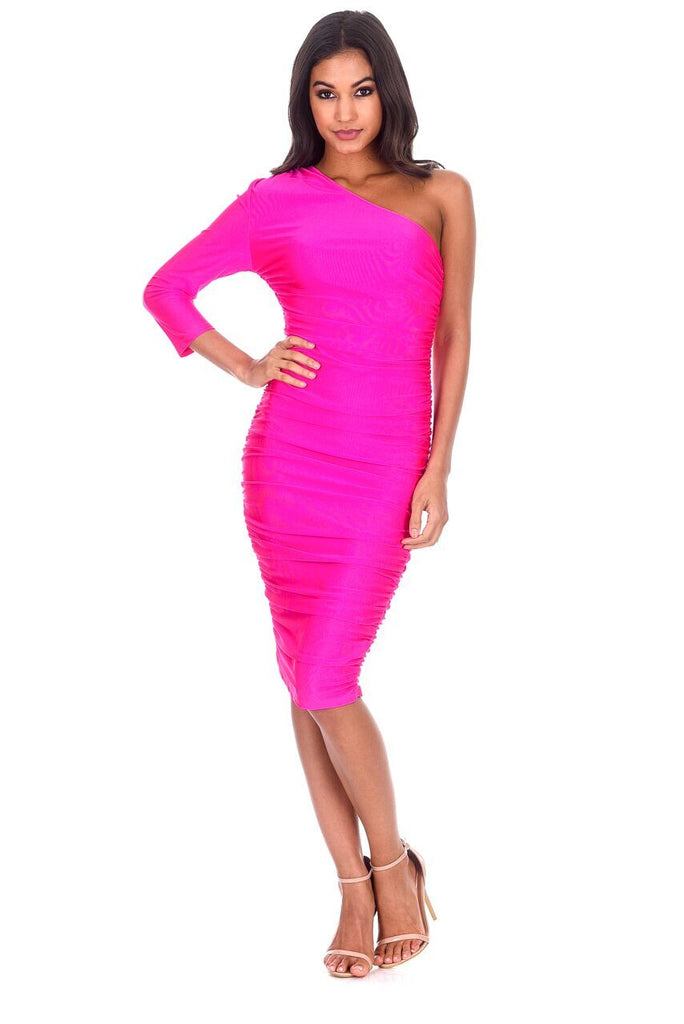 Cerise One Sleeve Slinky Midi Dress