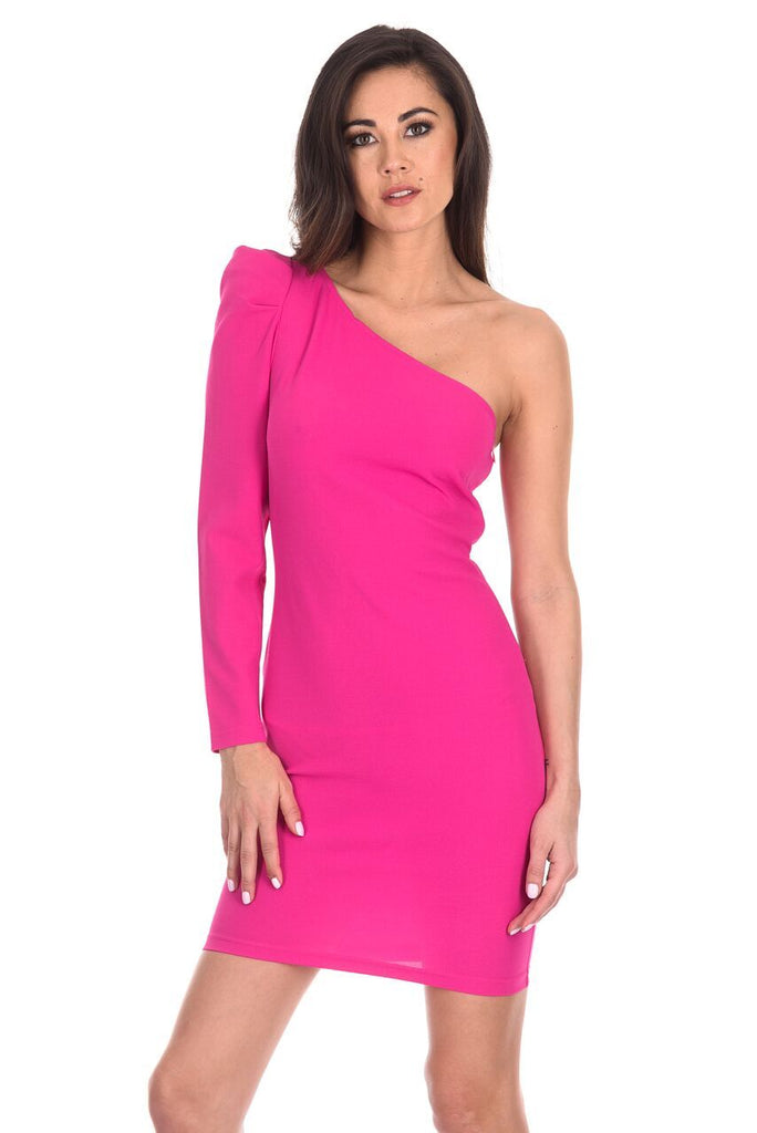 Cerise One Sleeve Bodycon Midi Dress