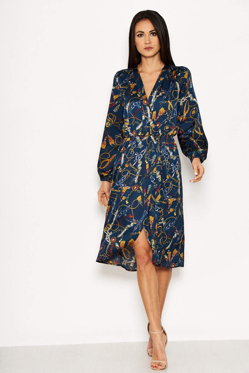 Chain Printed Wrap Style Dress