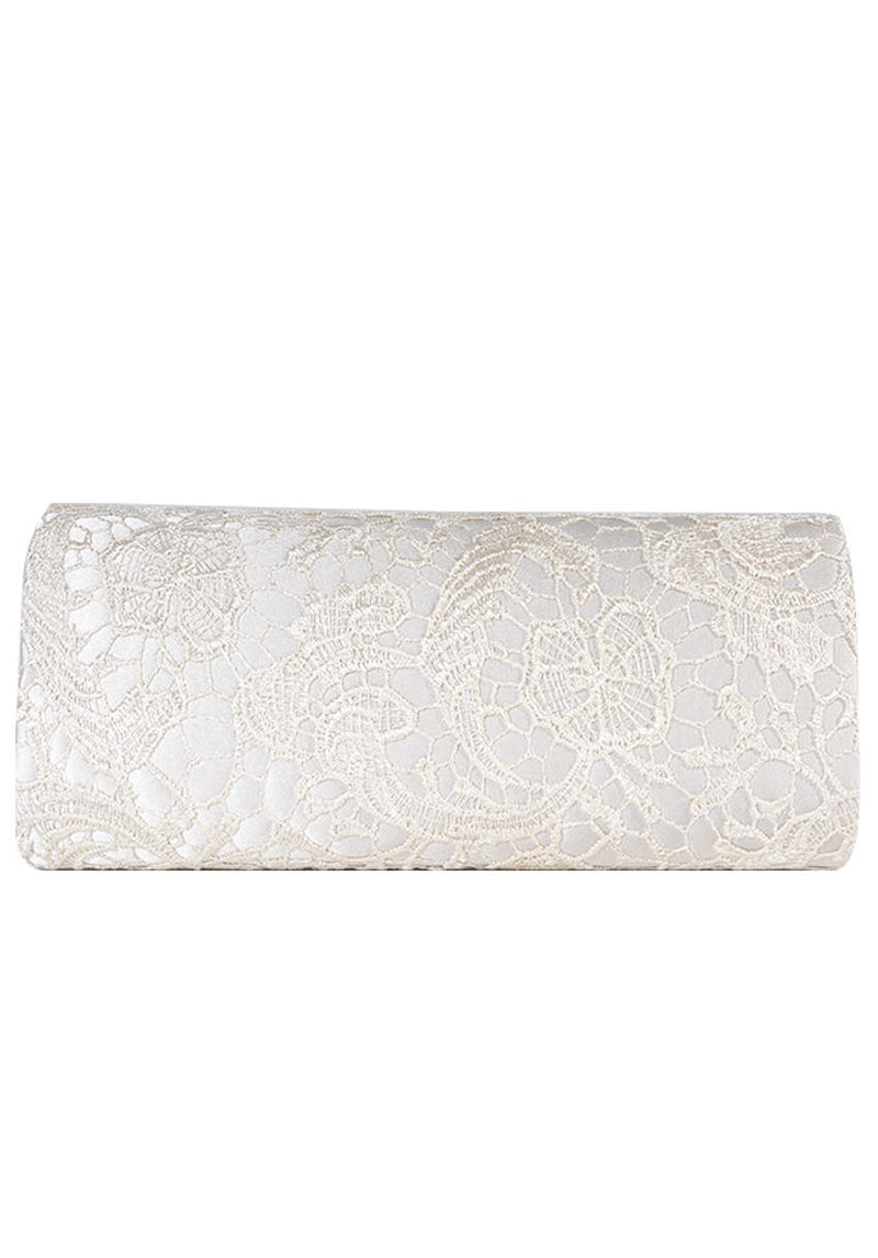 Champagne Crochet Detail Clutch Bag
