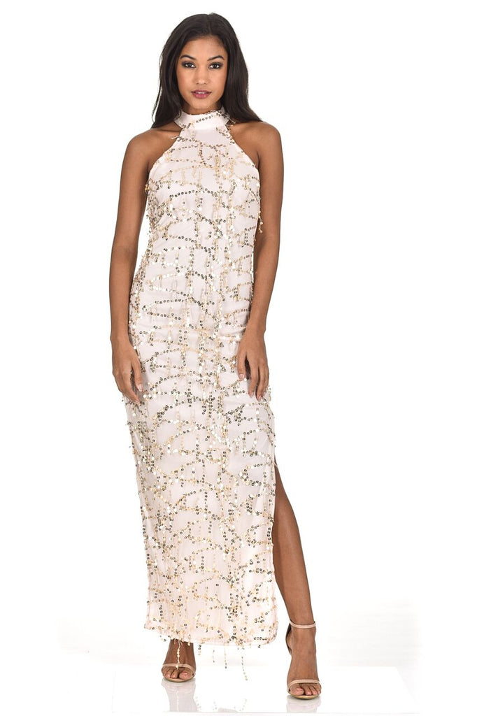 Champagne Cut In Neck Sequin Maxi Dress