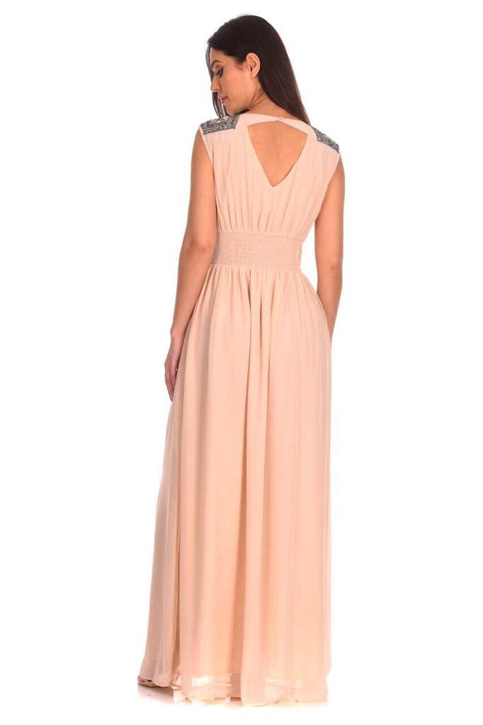 Champagne Embellished Maxi Dress