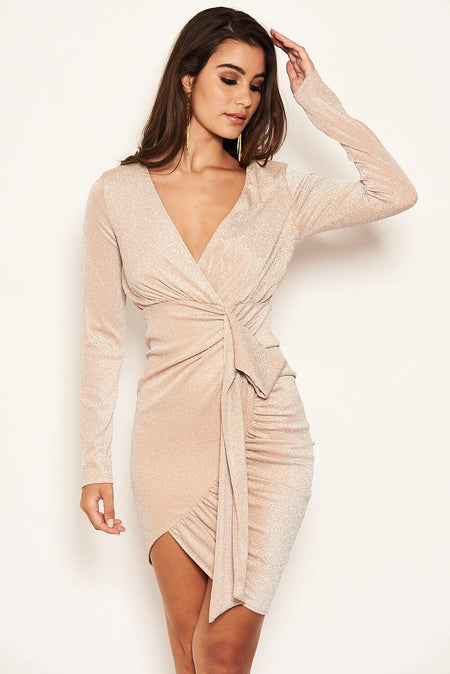 Silver Split Sleeve Ruched Bodycon Dress