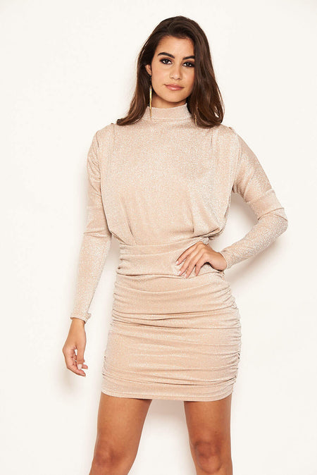 Mushroom Ruched Short Puff Sleeve Midi Dress