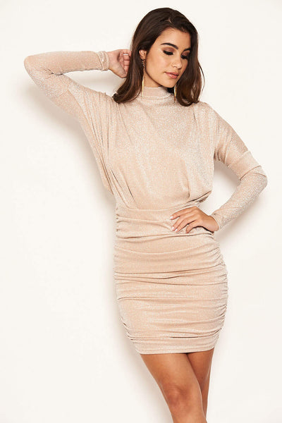 Champagne High Neck Ruched Sparkle Dress