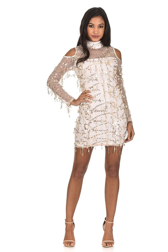 Champagne Long Sleeve Sequin Cut Out Dress