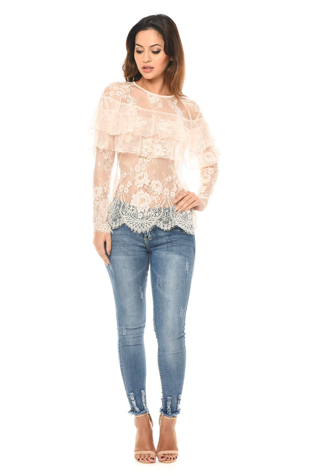 Champagne Long Sleeved Lace Frill Top
