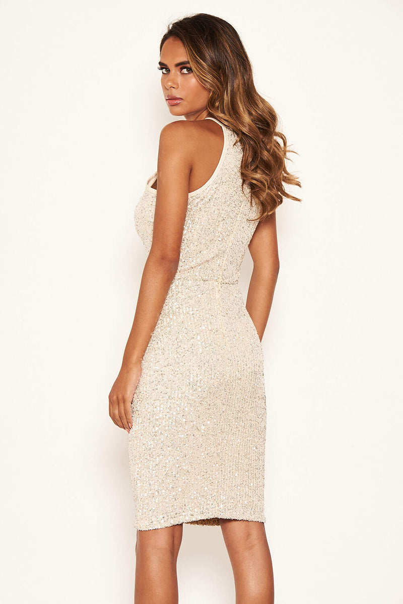 Champagne Sequin Midi Dress