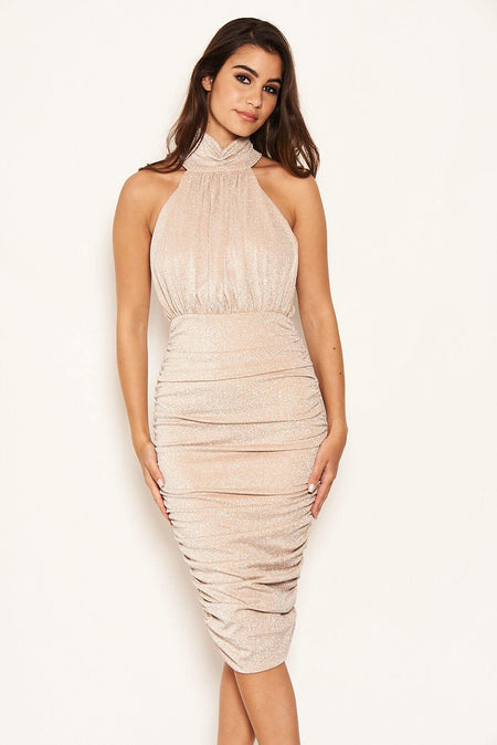 Coral High Neck Ruched Bodycon Midi Dress
