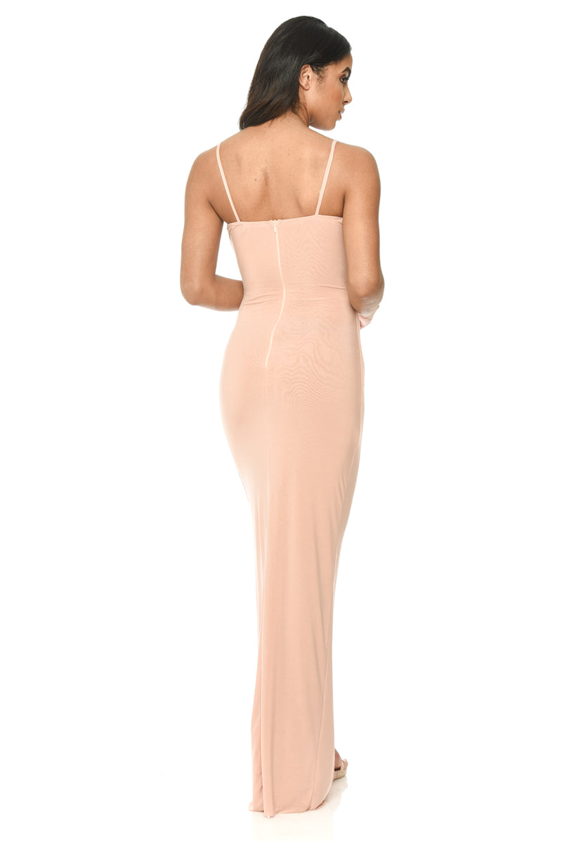 Champagne Strappy Floor Length Dress