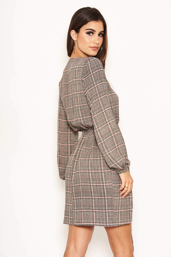 Checked Button Front Dress