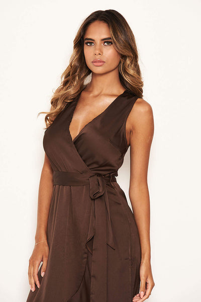Chocolate Wrap Frill Hem Maxi Dress with Tie Belt