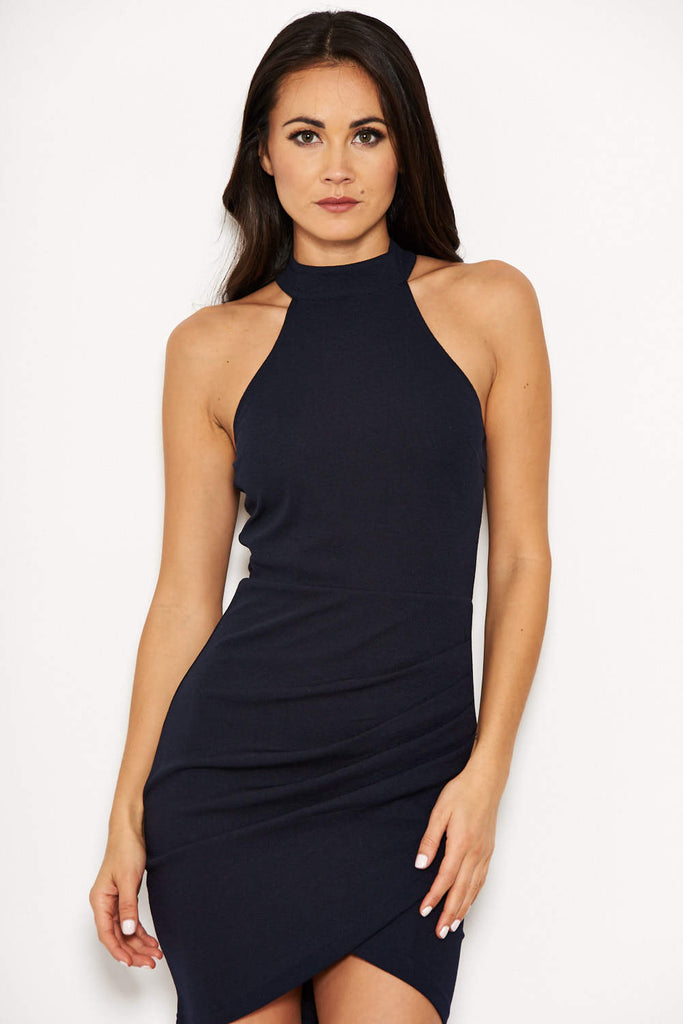 Navy Bodycon High Neck Ruched Dress