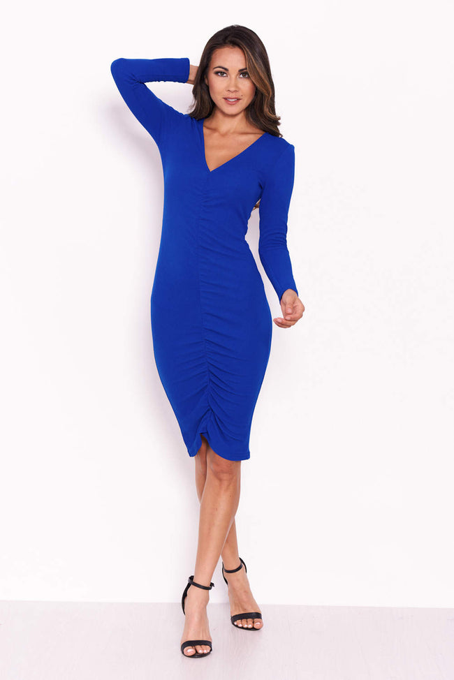 Cobalt Ruched Sleeved Dress