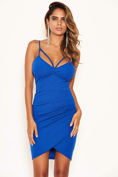 Blue Backless Fishtail Midi Dress