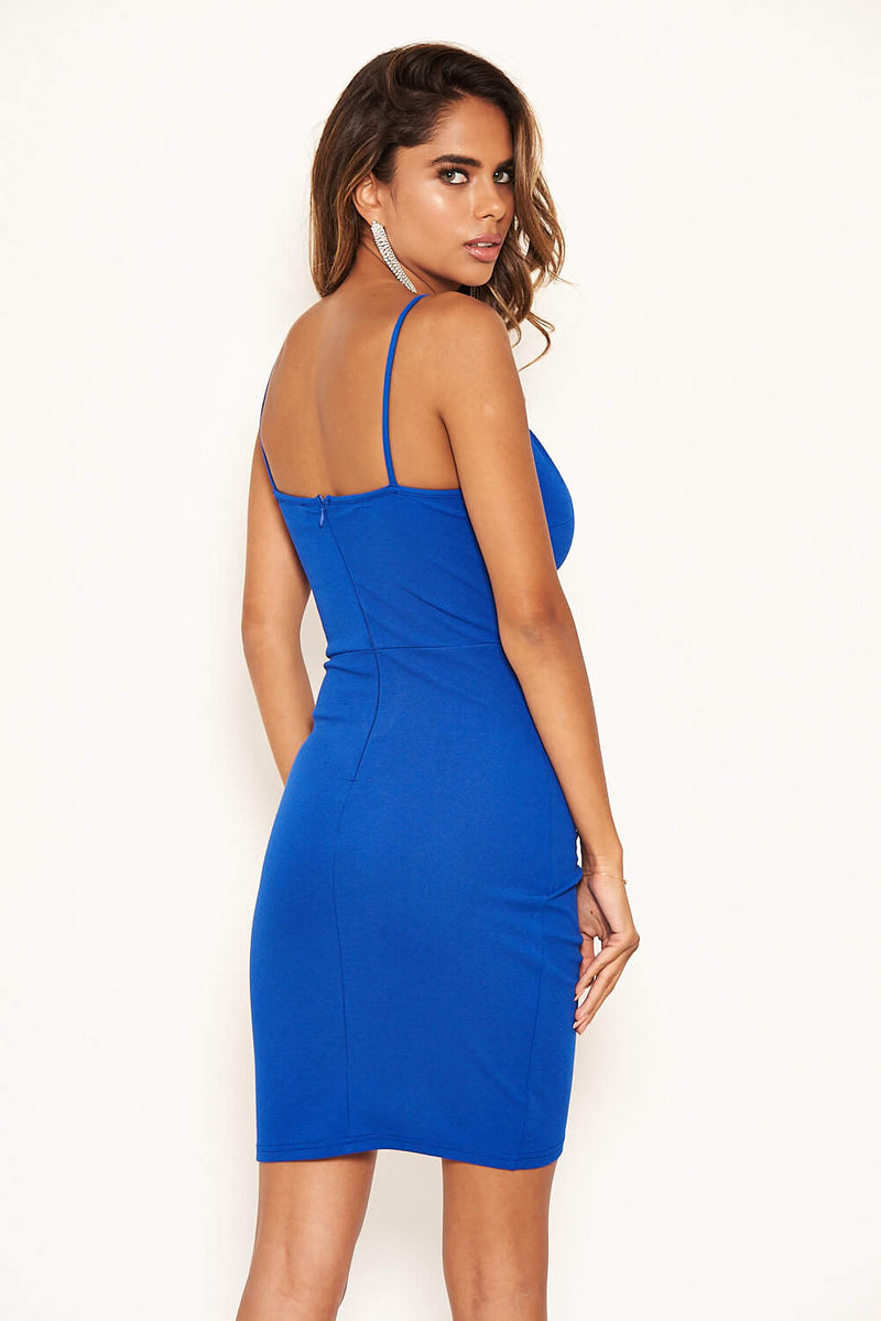 Cobalt Strappy Ruched Bodycon Dress