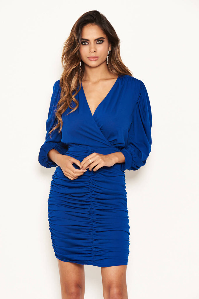 Cobalt Ruched Bodycon Dress With Cut Out Back