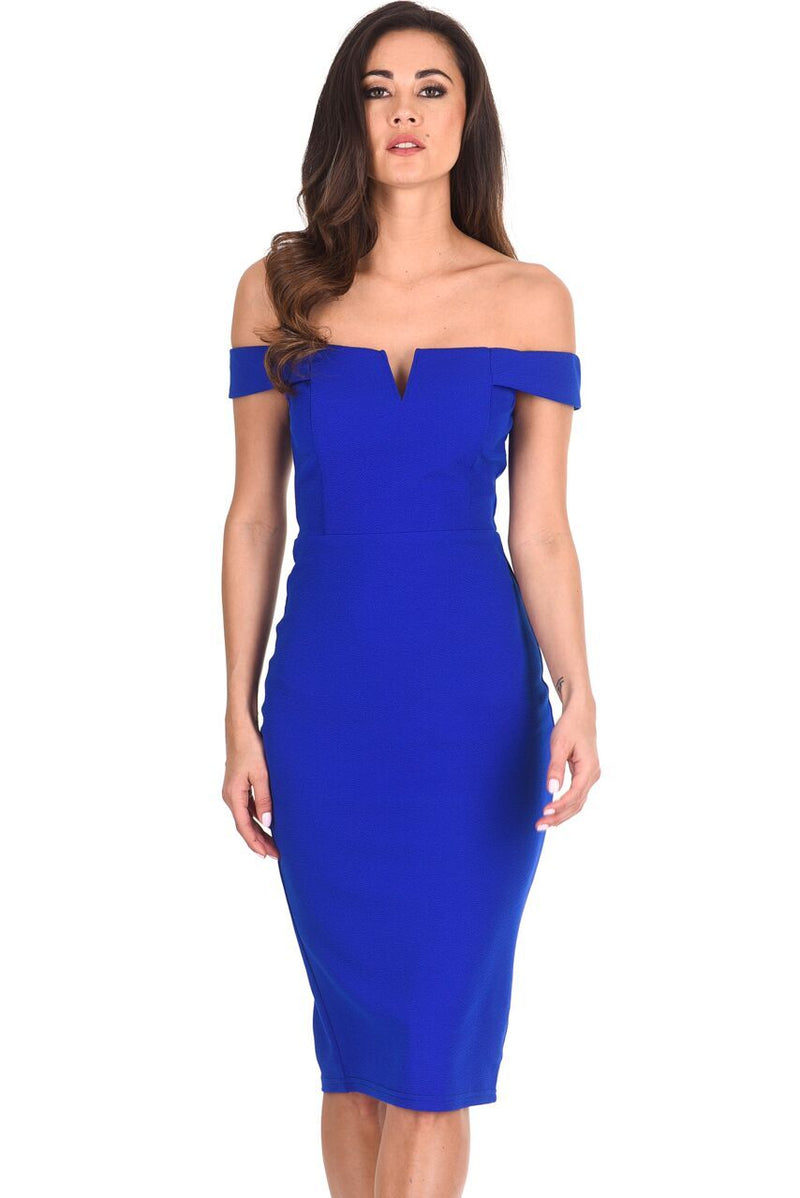 Cobalt Bardot Bodycon Dress