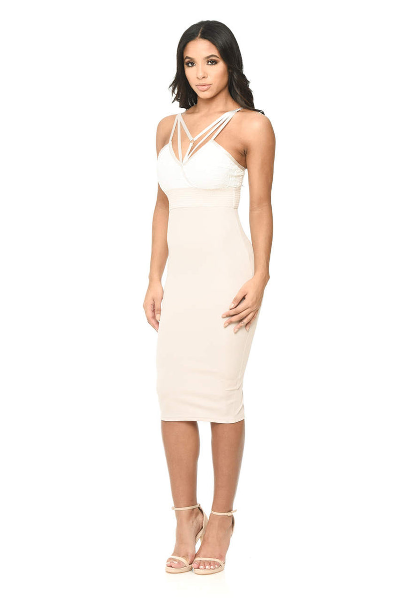 Contrast Bodycon Midi Dress With Lace Detail
