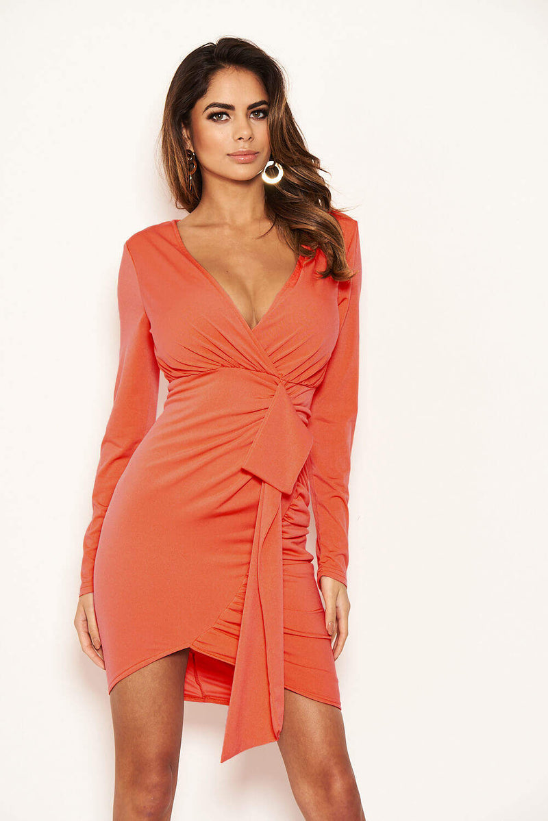 Coral Long Sleeve Ruched Wrap Dress