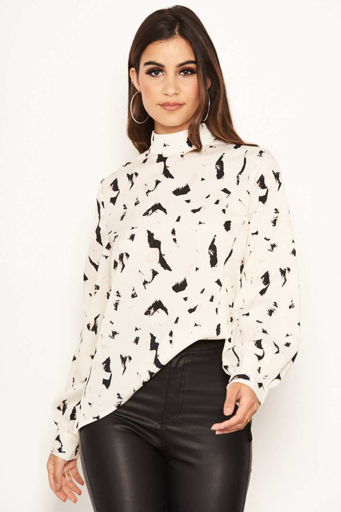 Cream Abstract Print High Neck Top