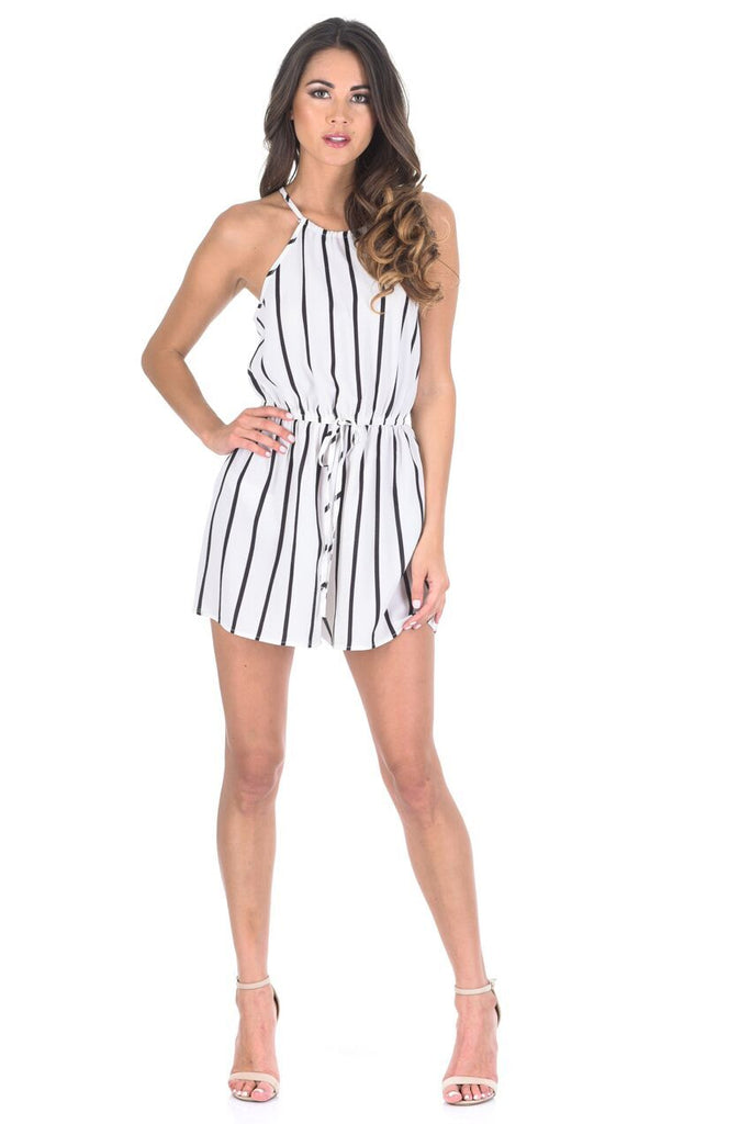 Cream And Black Pinstriped Short Playsuit
