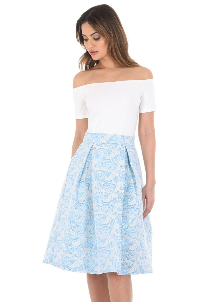 Cream And Blue Off The Shoulder Floral  2 in 1 Dress