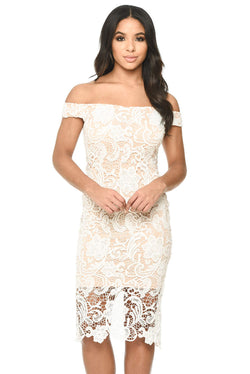 Cream And Nude Crochet Bardot Dress
